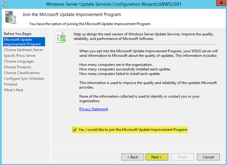WSUS Config 3 - Microsoft Update Improvement Program