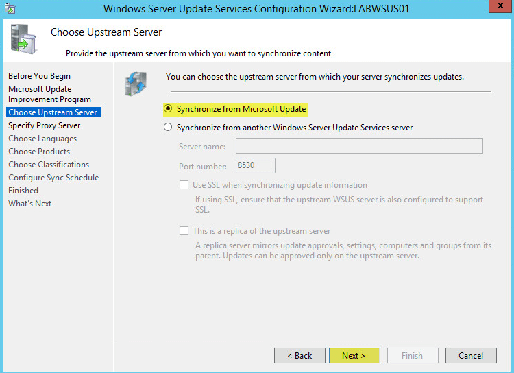WSUS Config 4 - Choose Upstream Server
