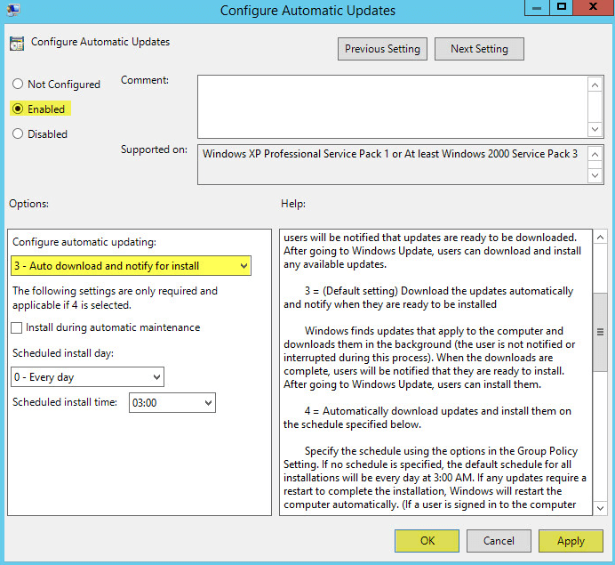 WSUS Group Policy 5 - Configure Automatic Updates