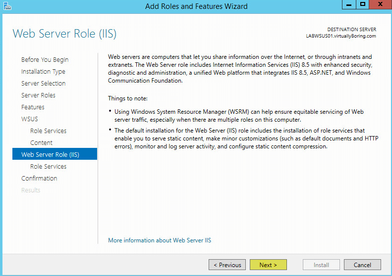 WSUS Install 10 - Web Server Role