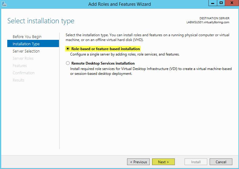 WSUS Install 3 - Installation Type