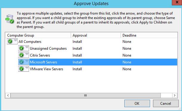 WSUS Updates 2 - Approve Updates Popup