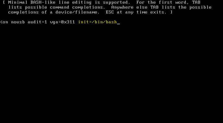 VCSA Boot Error 5 - Boot Bash