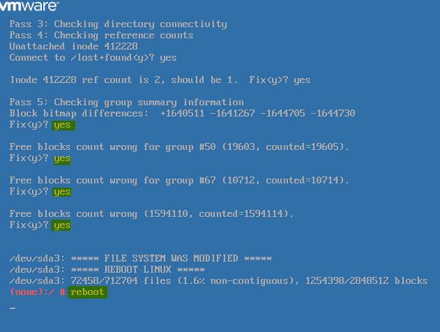 VCSA Boot Error 8 - Reboot VCSA