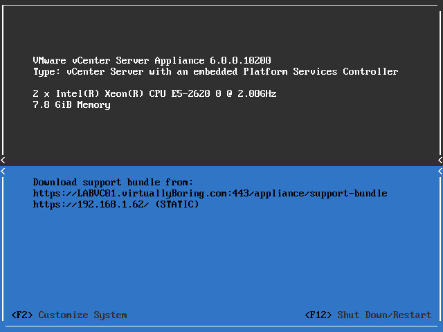 VCSA Boot Error 9 - Back to normal