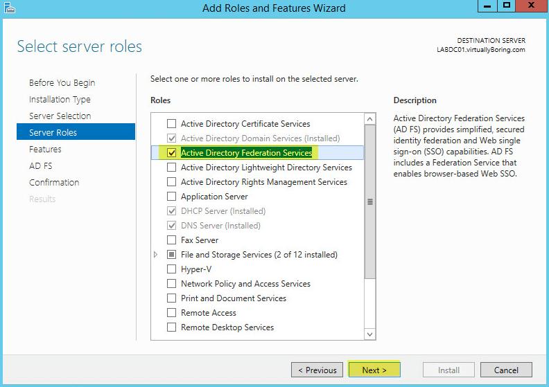 AD FS 5 - Server Roles