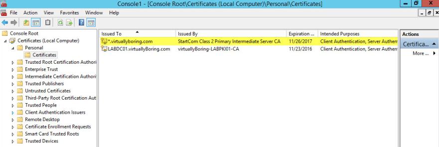 AD FS Configuration 13-2 - Wildcard Cert