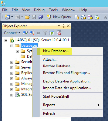 Microsoft SQL 2014 14 - New Database Time