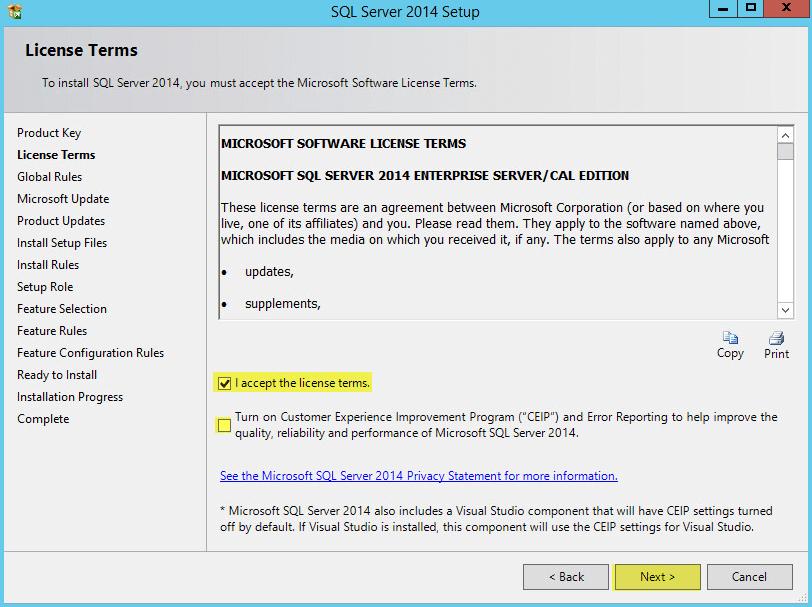 Microsoft SQL 2014 4 - License Terms