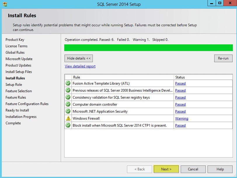 Microsoft SQL 2014 6-1 - Install Rules