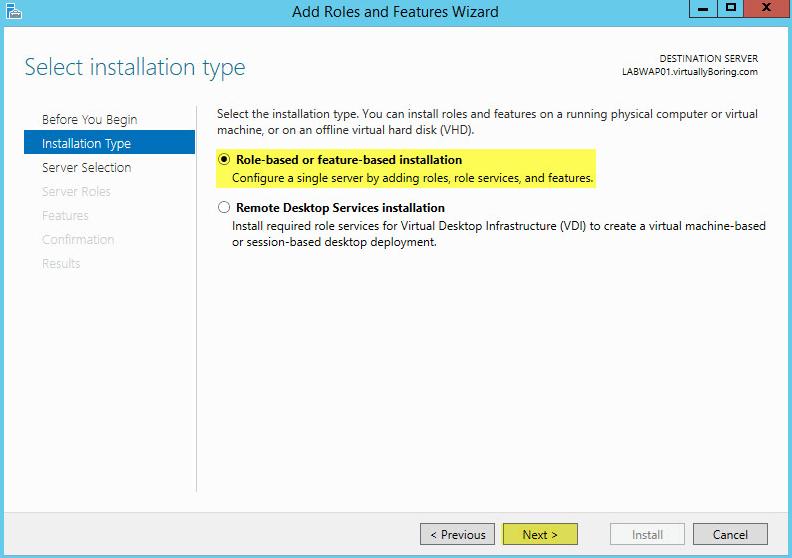 Microsoft Web Application Proxy 3 - Installation Type