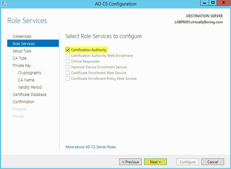 How to setup microsoft active directory certificate services ad cs pki 13 ad cs configuration role services yelopaper Image collections