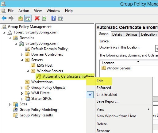 PKI 33 - Group Policy - Edit GPO