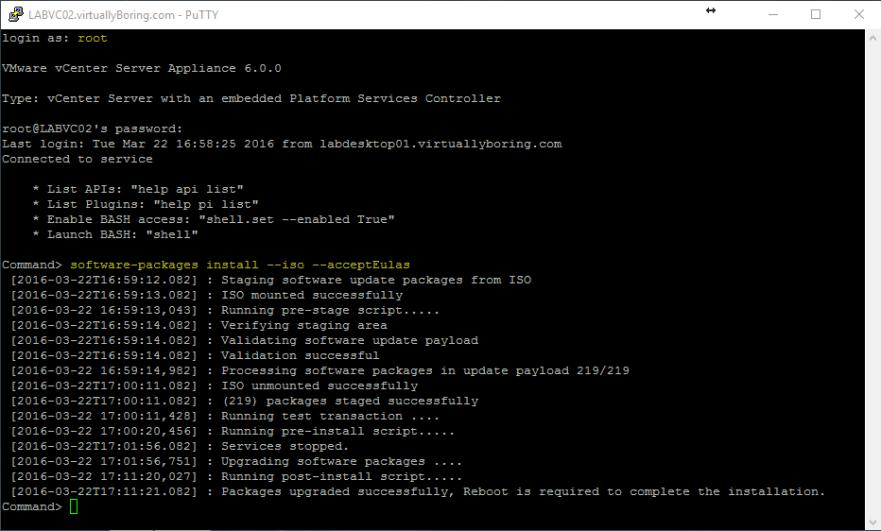 VCSA U2 3 - Software Upgrade Command