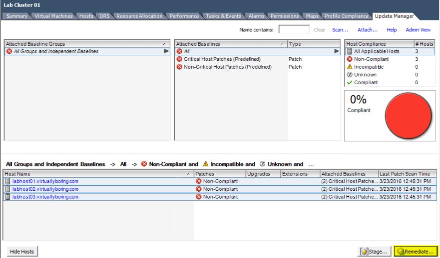 VUM Configure 13 - Remediate