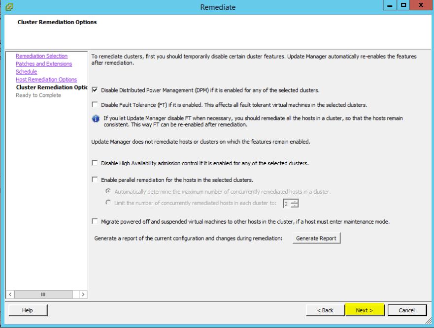 VUM Configure 18 - Cluster Remediation Options