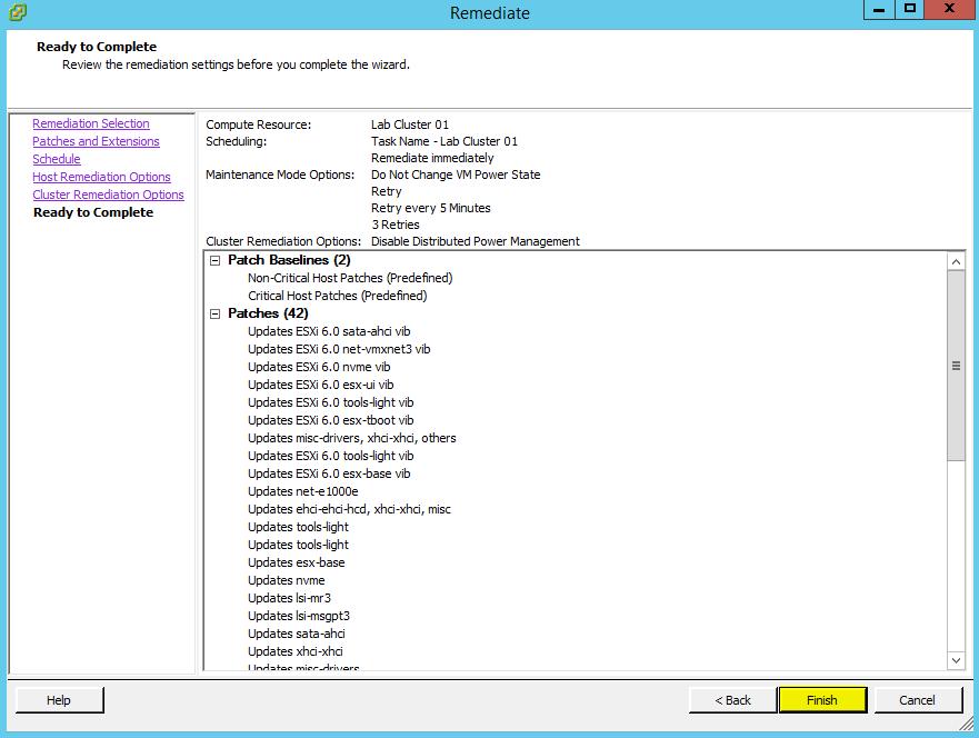VUM Configure 19 - Ready to Complete