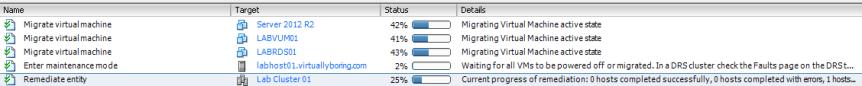 VUM Configure 20 - Remediate Tasks Running