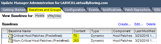 VUM Configure 8 - Baseline and Groups