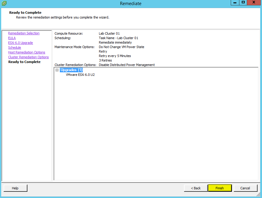 VUM ESXi Update 14 - Ready to Complete