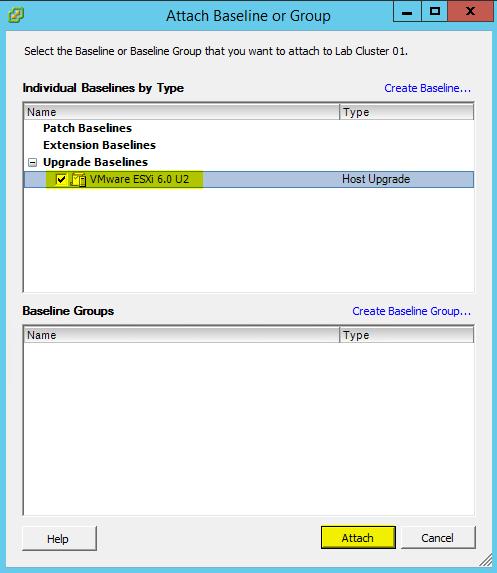 VUM ESXi Update 7 - Attach Baseline