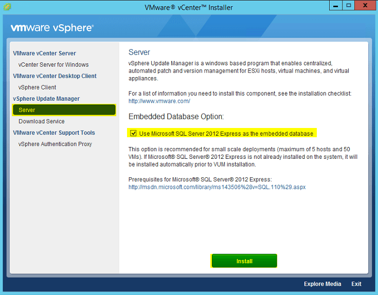 VUM Install 1 - Update Manager Server Install