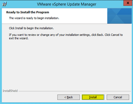 VUM Install 10 - Ready to Install