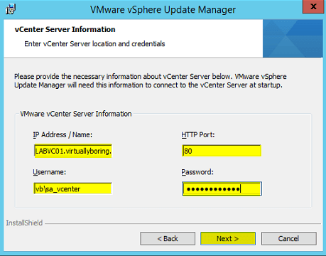VUM Install 7 - vCenter Server Information