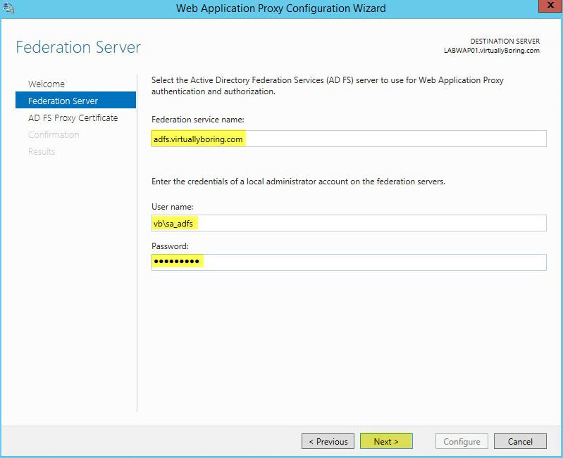 WAP Configuration 13 - Federation Server