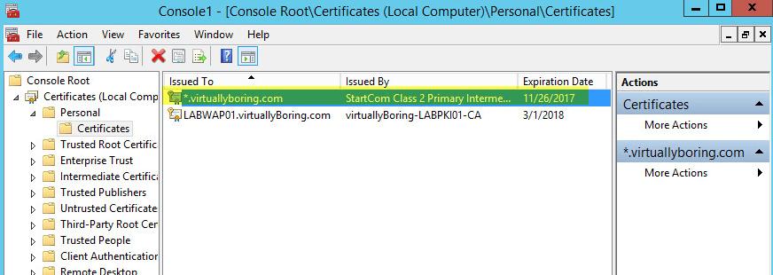 WAP Import Certificate 10 - Certificate Imported