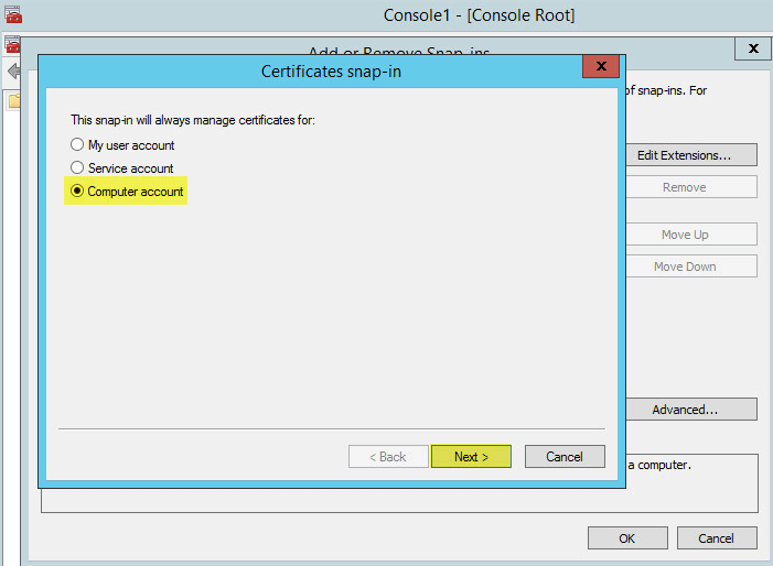 WAP Import Certificate 3 - Use Computer Account