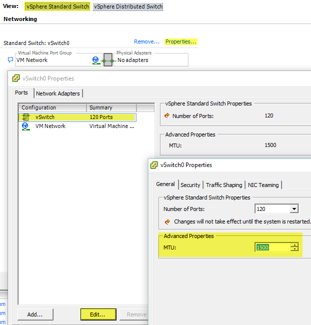 2 Edit Settings on Standard Switch