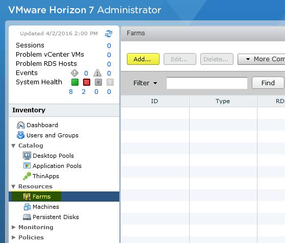 Add RDS Server to View 7 - 11 Add Farm