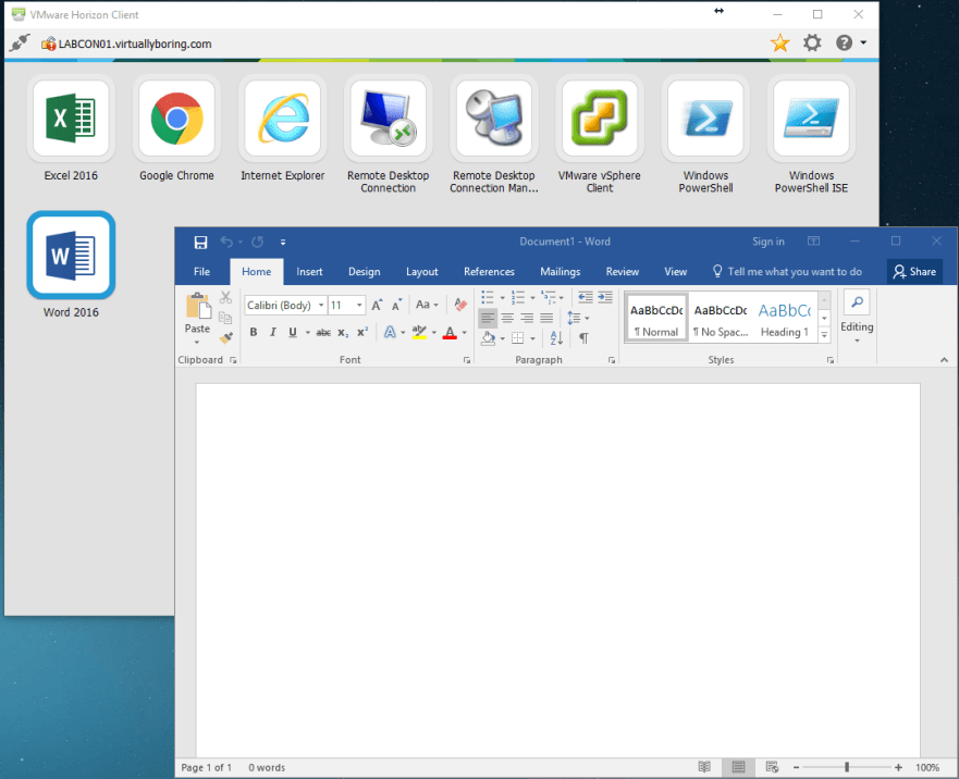 Add RDS Server to View 7 - 23 Launched Word