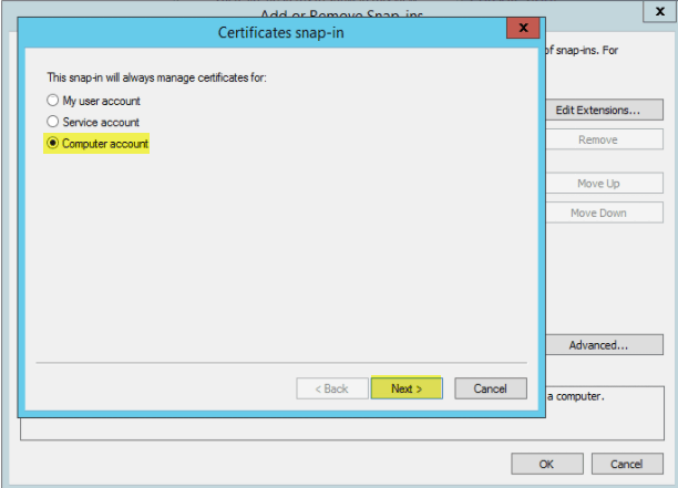 Add SSL Cert fo View - 3 MMC Certificates Computer Account