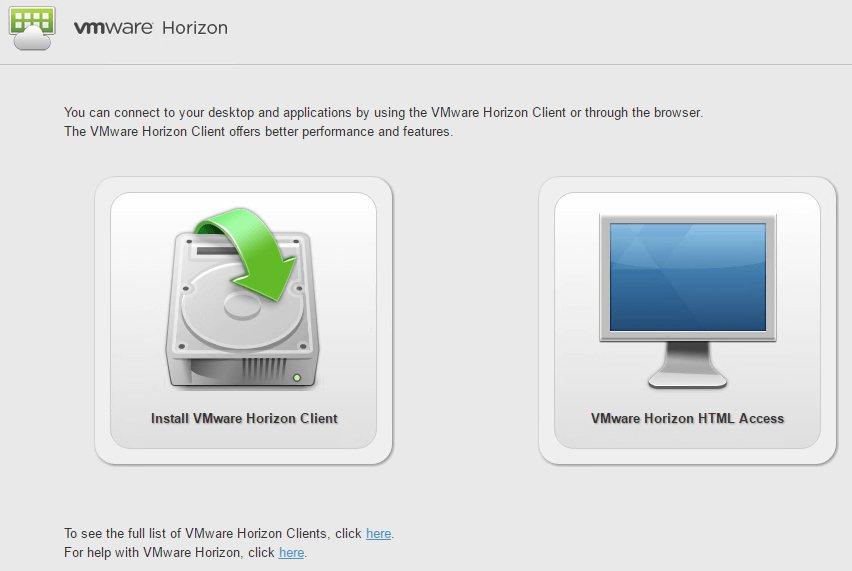 Download Horizon Client from Connection Server