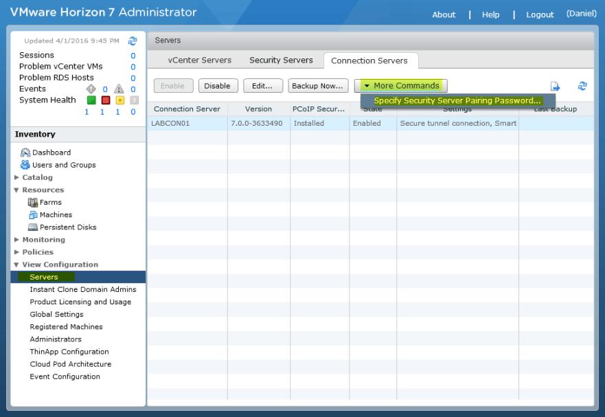 Horizon View 14 - Specify Security Server Pairing Password