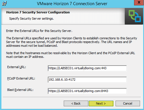Horizon View 19 - Security Server Configuration