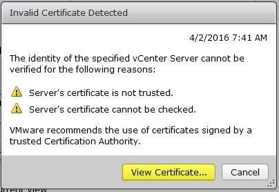 Horizon View 25 - Invalid Certificiate Detected