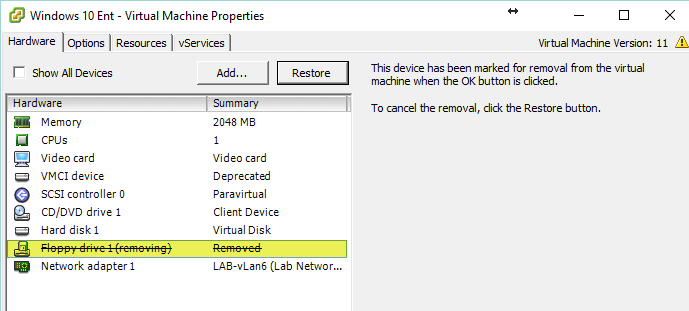 Horizon View 7 - Remove Floppy
