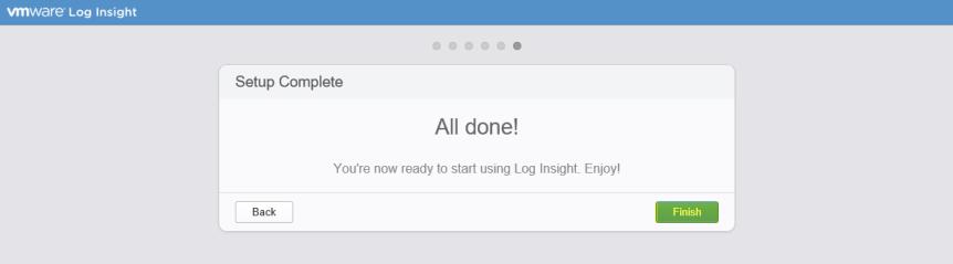 Log Insight Manager 18 - Setup Complete