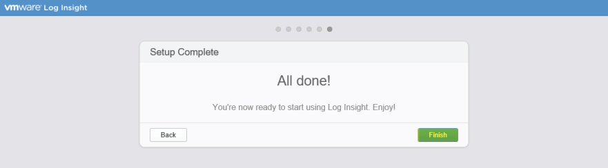 Log Insight Manager 18 - Setup Complete