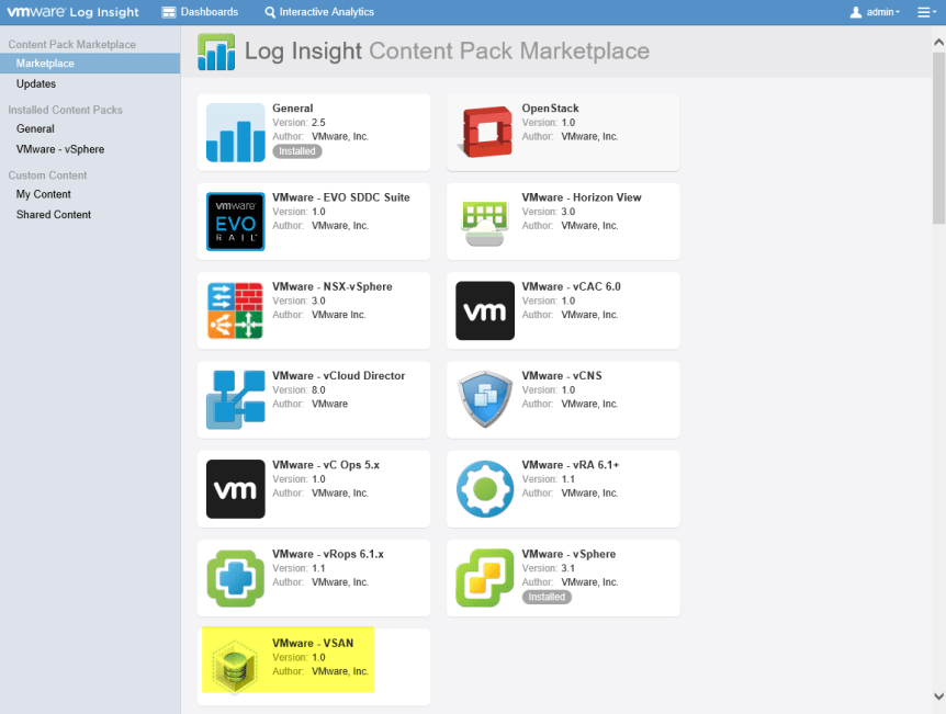 Log Insight Manager 23 - VSAN Content Pack