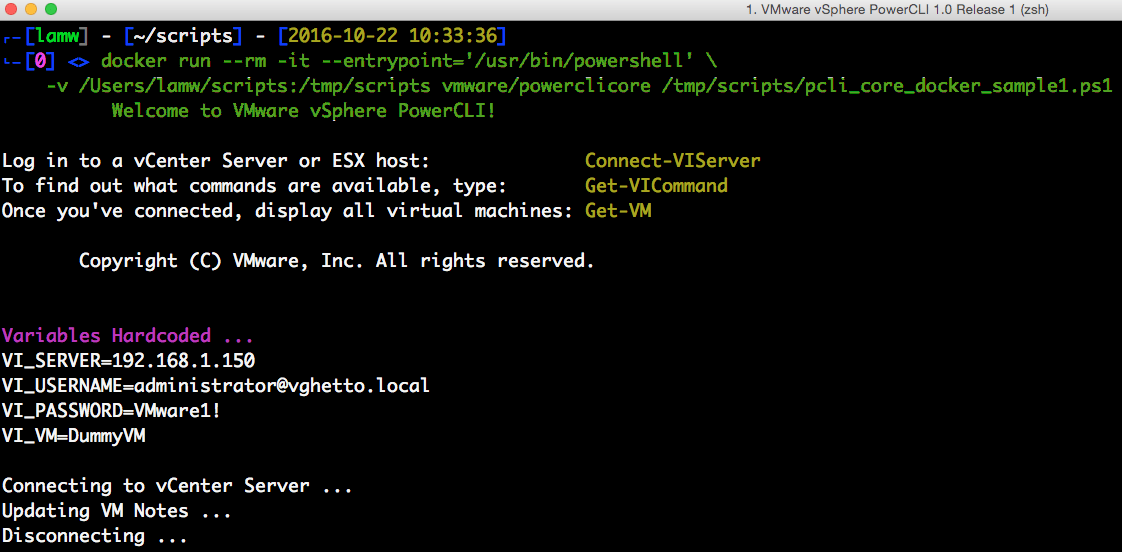 5 ways to a run PowerCLI script using the PowerCLI Docker Container