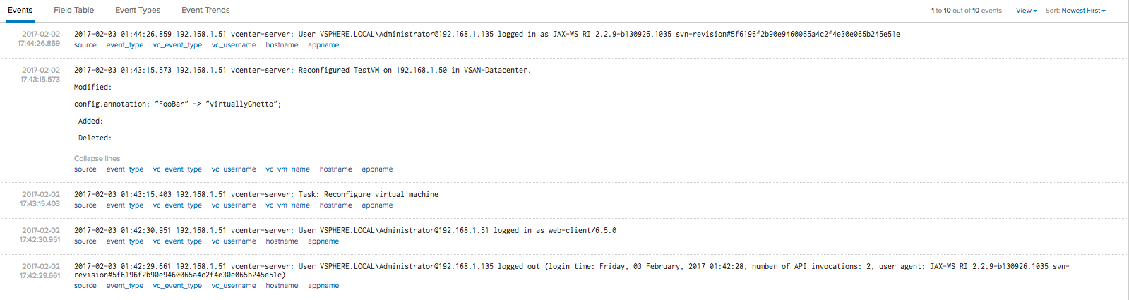 What logs do I get when I enable syslog in VCSA 6 5?