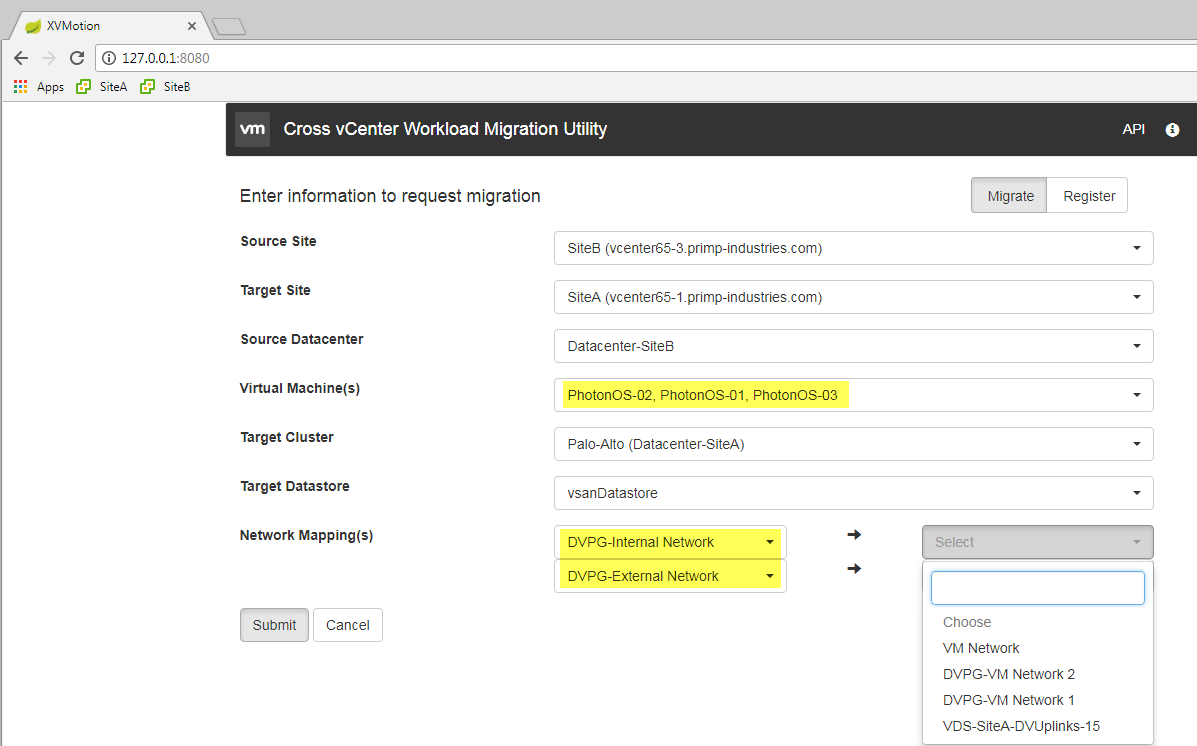 Bulk VM Migration using new Cross vCenter vMotion Utility Fling