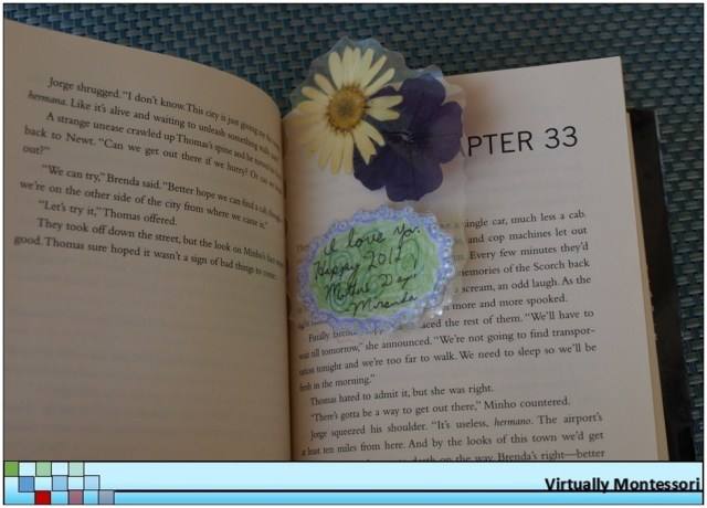 Bookmark with pressed flowers