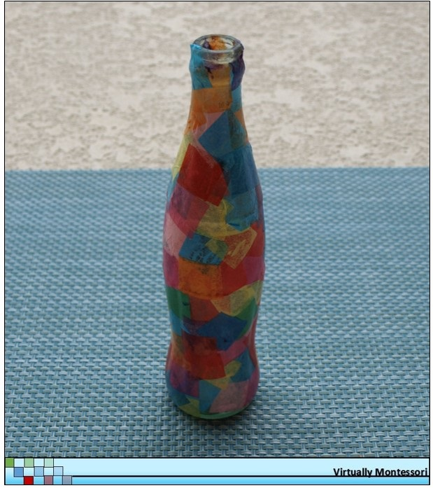 Tissue paper and recycled bottle vase
