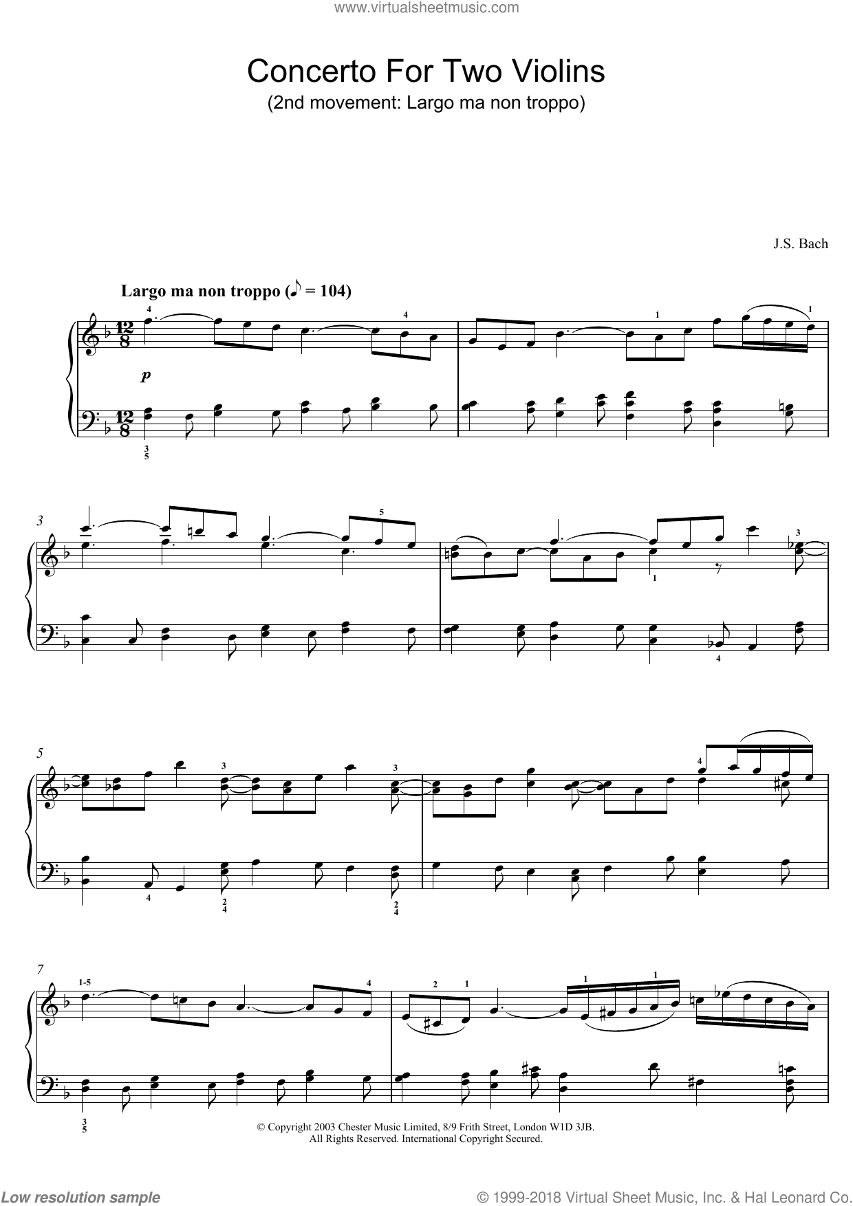 Free Sheet Music Bach Violin Concerto