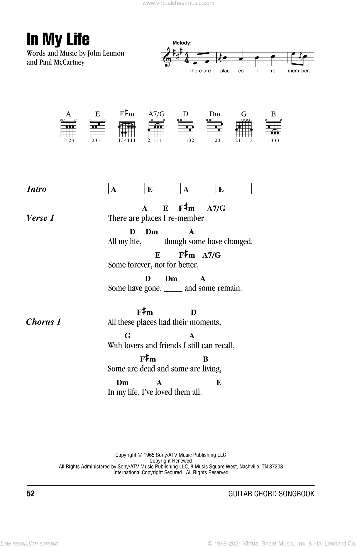 Beatles In My Life Sheet Music For Guitar Chords